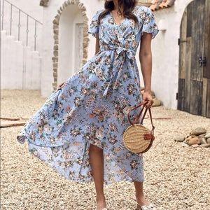 Boho floral belted dress